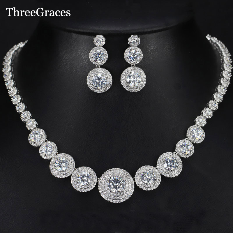 ThreeGraces Luxury European American Bridal CZ Stone Perfectly Big Round Drop Earrings Necklace Women Wedding Jewelry Sets JS178