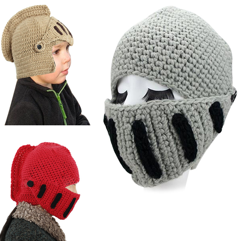 New Novelty Children Roman Knight Armor Caps Crocheted Beanie Winter Handmade Knitted Hats Helmet for Baby Boys Girls F new natural raccoon fur pompom hat thick winter for women cap beanie hats knitted cashmere wool caps female skullies beanies