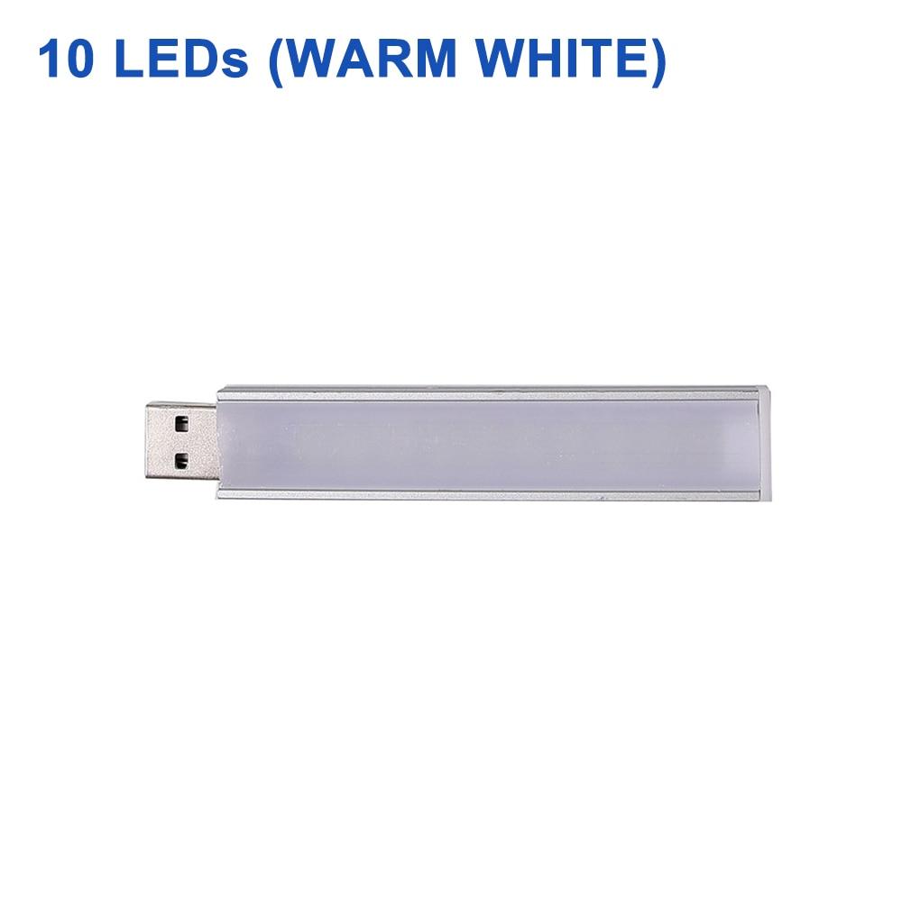 DC 5 В Мини светодиодный Ночной светильник, портативный 10 светодиодный s 24 светодиодный s USB настольная лампа для чтения, сгибаемый удлинитель, адаптер для США, книжный светильник s - Испускаемый цвет: 10LEDs Warm White