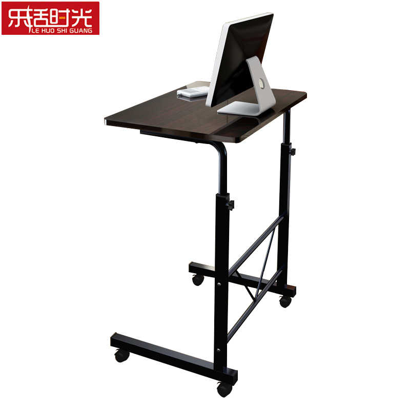 Simple Computer Desk Bed Wooden Desktop Home Mobile Lazy Lift Bedside Table Creative Adjustable Height Laptop Stand with Wheel