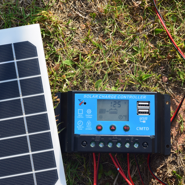 20W Portable Solar Powered Panel Cells Poly Module Battery Charger 1.5m Cable+10A 12V Solar Charge Controller USB Auto Regulator 5