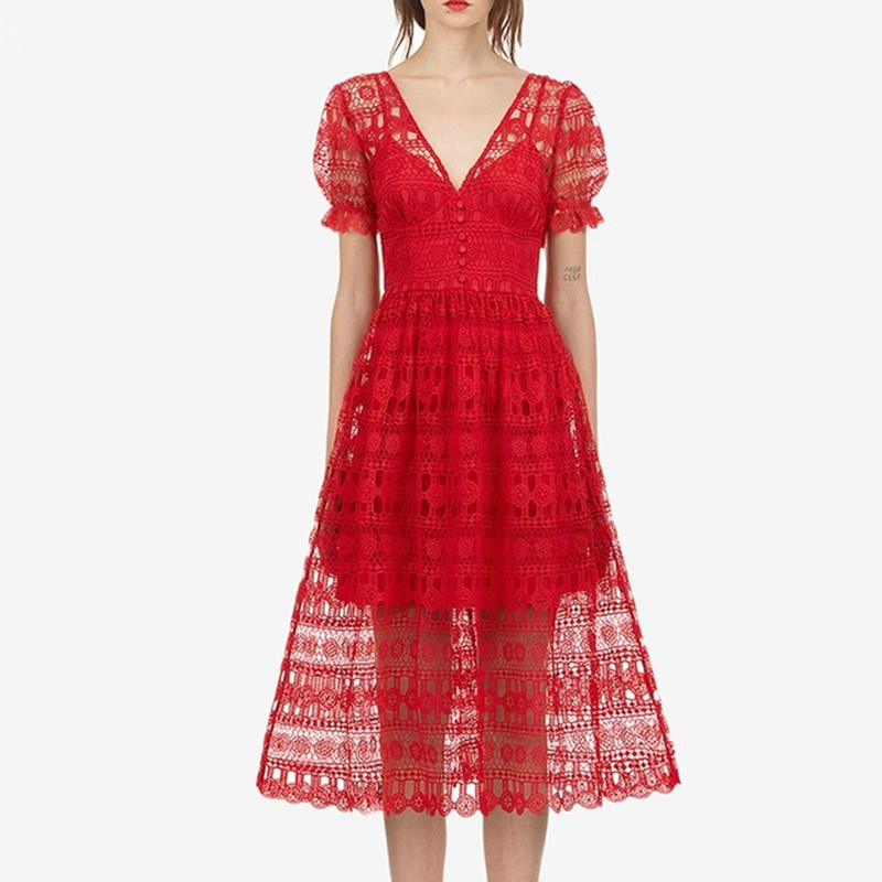 Us 2474 25 Offself Portrait Red Lace Party Long Dress 2019 Women Short Sleeve V Neck V Back Hollow Out Crochet Embroidery Vintage A Line Dress In