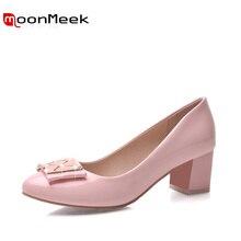 Moonmeek/Для женщин насосы элегантные модные тонкие туфли обувь на высоком каблуке простые с острым носком сладкий Пром Обувь Новое поступление