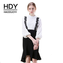 HDY Haoduoyi Women Floral Lace Strap Solid Black Fishtail Skirt Office Lady High Low Frills Waist Bodycon S