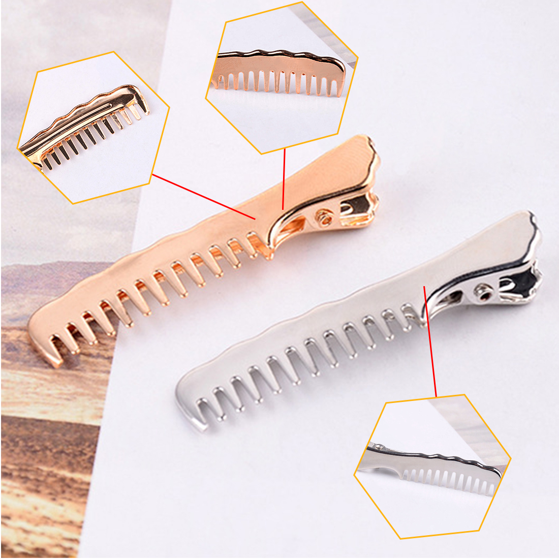Fashion Women Hairpins Comb Shape Hair Clips Metal Special Design Lady Hair Accessories Daily Beauty Headwears