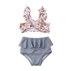 Лидер продаж, комплект из 2 предметов для маленьких девочек, Леопардовый цветочный принт, купальный костюм, бандаж, оборки, детский пляжный л... 2