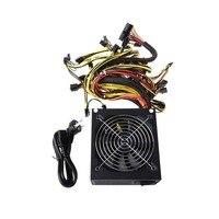 1600W ATX Power Supply 14cm Fan Set For Eth Rig Ethereum Coin Miner Mining PC Friend
