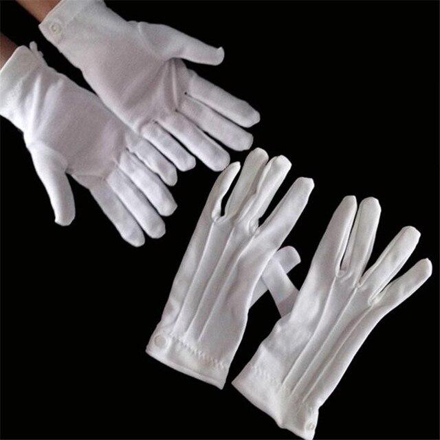 Luvas brancas de Algodão Formal de Trabalho Uniforme uniformes de Catering Mágico Desfiles Inspeção Cinco-dedos luvas de trabalho dos homens