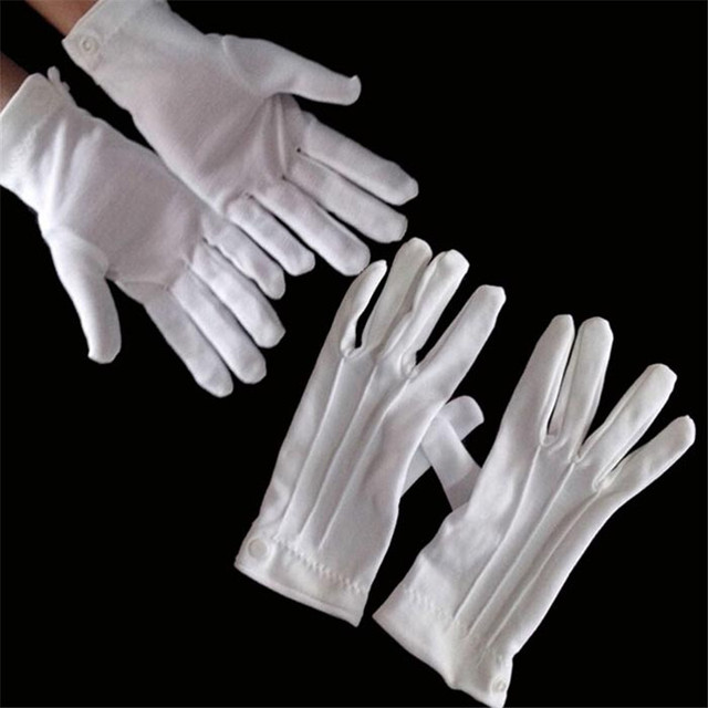 White Cotton Gloves Formal Work Uniform Catering uniforms Magician Parades Inspection Five-fingers men's work gloves