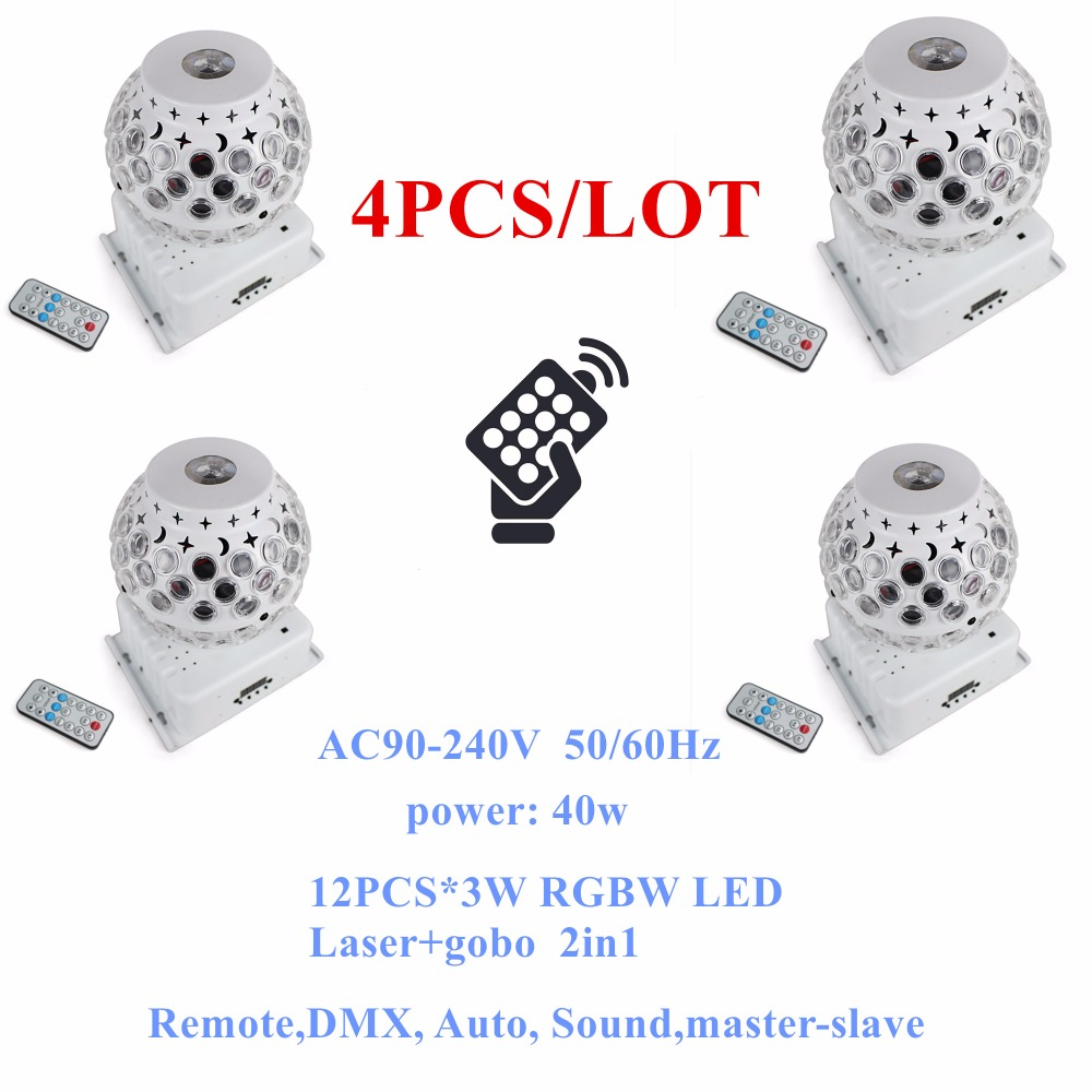 4PCS/LOT Remote Control Crystal Magic Ball Light 12X3W RGBW 4IN1 Rotation Swing Gobo Effect Lights Holiday Decoration Equipments