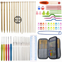 Looen Knitting Hooks Needles Set 17pcs 0.6 4.5mm Crochet Hook Needles Set 36pcs Straight Knitting Needles Set With Blue Bag