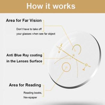 Progressive Anti Blue Ray Computer Reading Glasses Folding Temples UV400 No Line Gradual Prescription Lenses