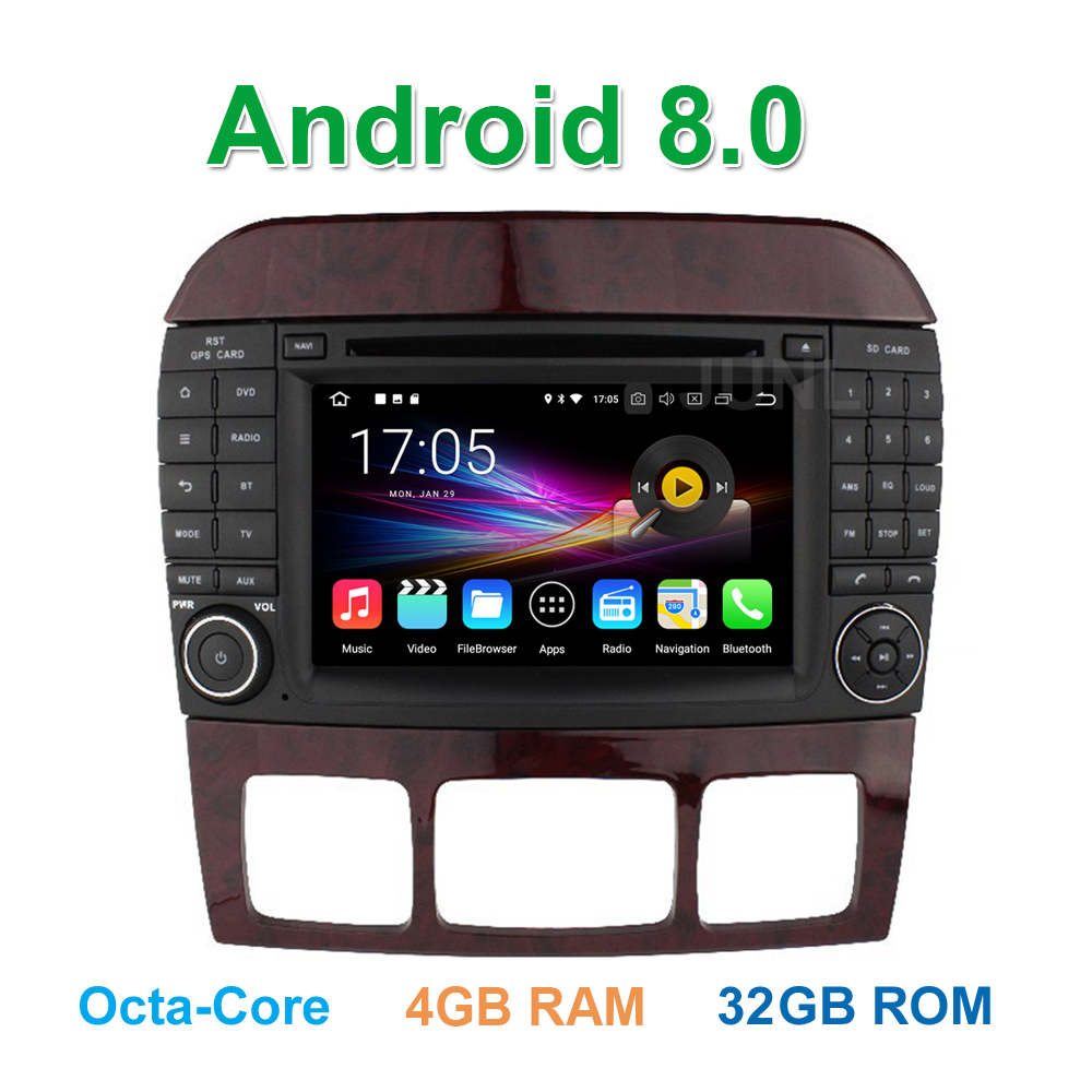 Octa core Android 8.0 Car DVD Player for Mercedes/Benz S class W220 W215 S280 S430 S500 with BT WiFi GPS Radio 4 GB RAM