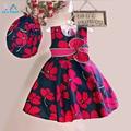 AiLe Rabbit 2016 Девушки Летнее Платье Роуз Цветочные Дань Шелковый Дети Платья для Девочек День Рождения Размер 1-6 Т vestidos infantis