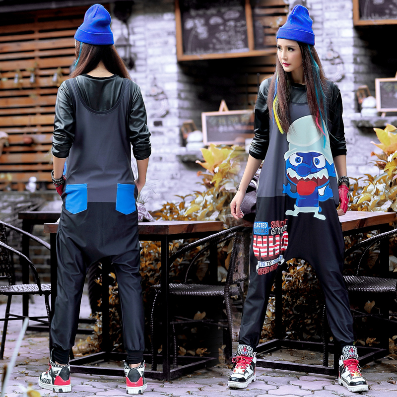 2018 Streetwear Women   Jumpsuits   Hip Hop Dance Clothes Casual Loose Personality Trousers Pants