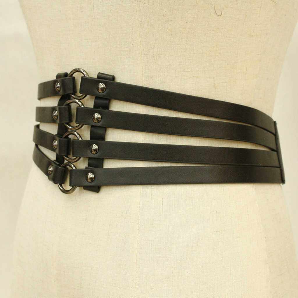 בציר נשים של פאנק מסמרות שחור עור רחב מותניים חגורה חלולה את להקת Cincher ללבוש אביזרי לגדול T חולצה שמלה