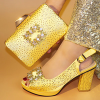 Global free DHL express lady evening Shoes And Bag Set Summer Fashion Simple Rhinestone Pumps Shoe And Bag Set For Party Gold