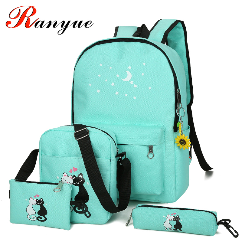 RANYUE 2018 New Canvas Women Backpacks Schoolbag Printing Cute Cat School Bag Backpack For Teenager Girls Green Rucksack Moclila yasicaidi 4pcs women canvas backpack cute cartoonprinting backpacks school backpack for teenager girl casual travel bag rucksack