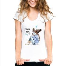 FIXSYS Mama Print Female T-shirt Son and Mom Summer Harajuku Women T-shirts White Tshirt Casual Tops Tee Shor Sleeve Shirt