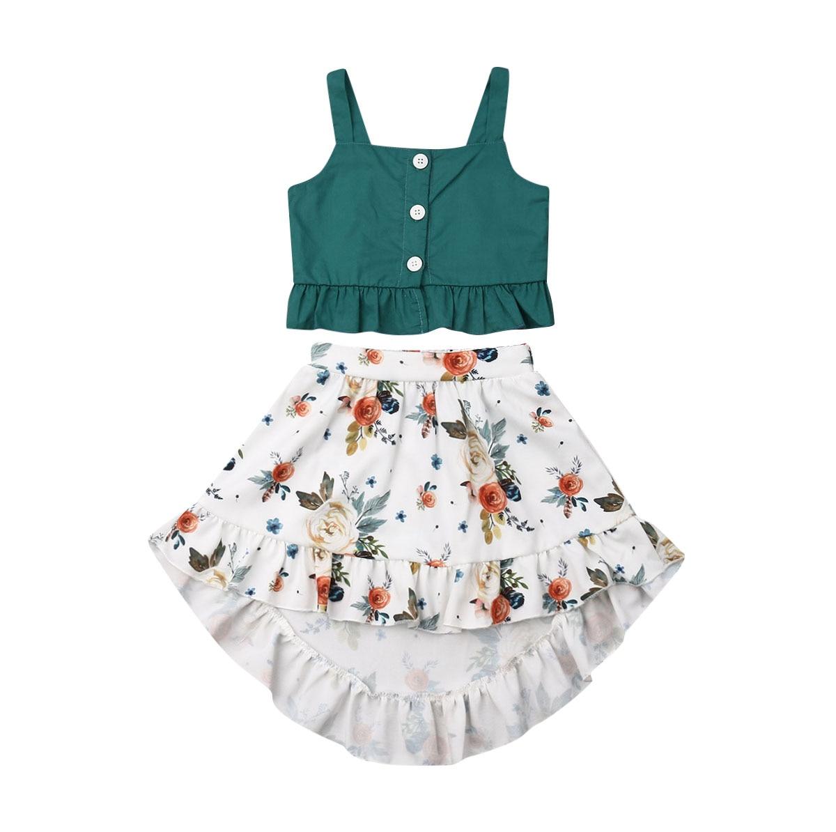 0dfb78e334b5 Summer Toddler Kids Baby Girl Sleeveless Tank Tops Floral Boho Skirt 2PCS  Outfits Princess Girls Holiday