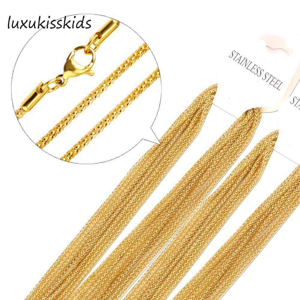 LUXUKISSKIDS Wholesale 10pcs/Lot Stainless Steel Rope Chain Necklace 2mm Width Gold/Silver Plating Chains Top quality