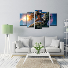 Guardians Of The Galaxy Rocket And Groot Movie Poster Art Pictures For Wall Decor For Kids Room Modern Paintings On Canvas 5pcs