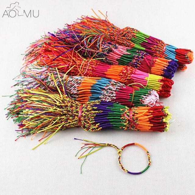 Aomu Whole Lucky Friendship Braided Rope String Bracelet Rainbow Thread Woven Ankle Bracelets Beach Bohemian Anklet