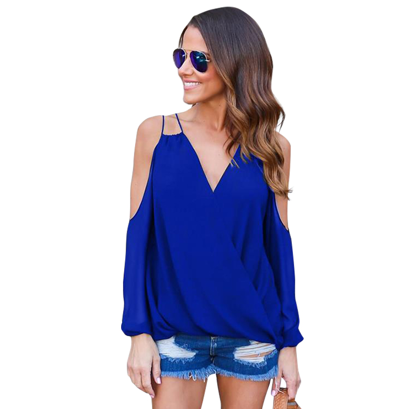 Woman Chiffon Blouses Shirts Casual Tops V Neck Long Sleeve Cold Shoulder Sexy Blouse For Women Clothing LJ9056M