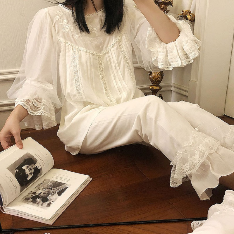 Soft Cotton Hand-made Embroidery Women's   Pajamas     Sets   Autumn Vintage Sweet Female White Pyjamas Long Sleeve Sleepwear 2228