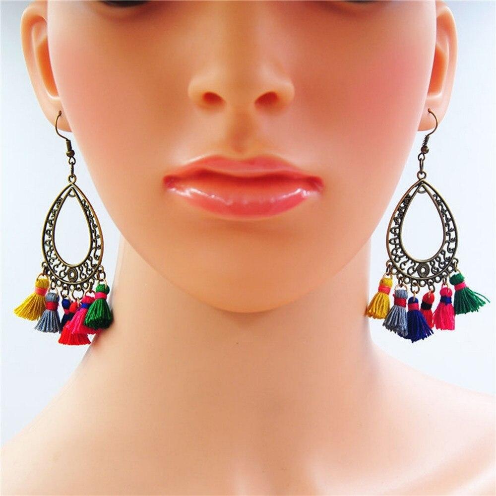 1 Pairs Boho Style Vintage Bronze Dream Catcher Tassel Drop Pompom Earrings Candy Color String Tassel Dangle Earrings Women 2 S