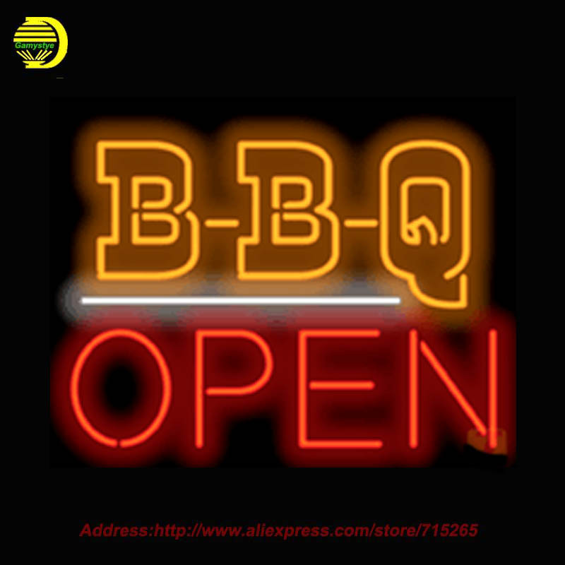 2017 Open B B Q Open Neon Sign Glass Tube Handcrafted Recreation Store Display Advertise Iconic Sign personalized Sign 30x24
