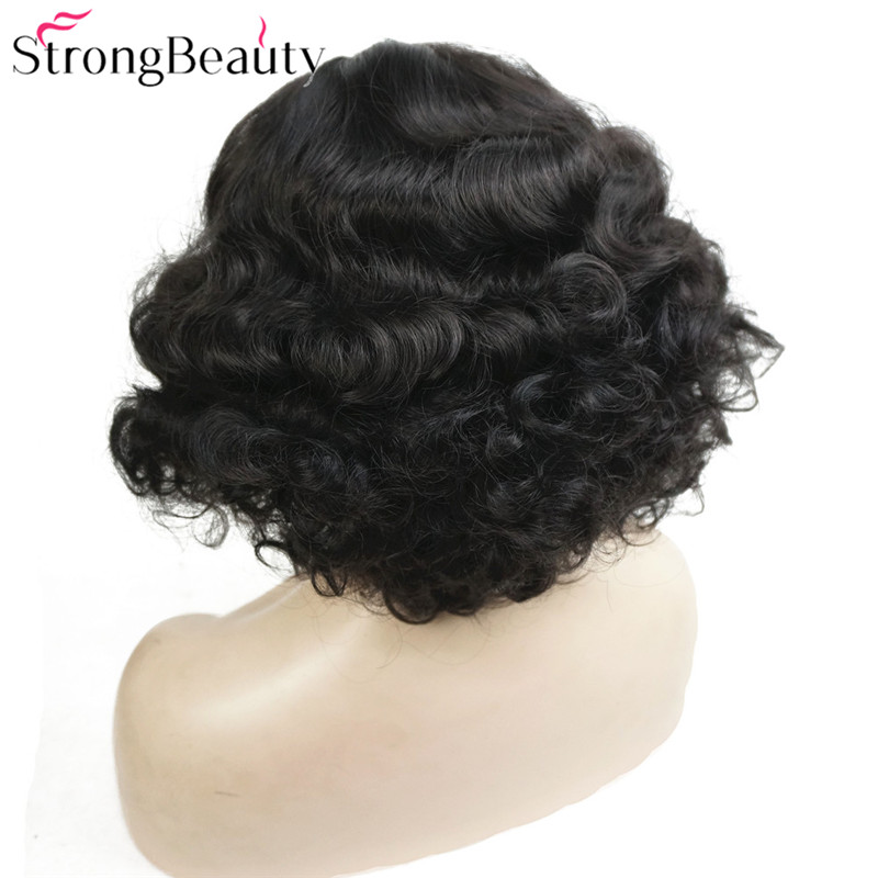 StrongBeauty Short Wavy Wig Synthetic Wigs Women's Vintage Flapper Wig Party Cosplay Hair