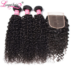 Image 4 - Top Sale Cambodian Curly Bundles with Closure Natural Color Remy Human Hair 3 Bundles with Closure Longqi Hair Vendors Fast Ship