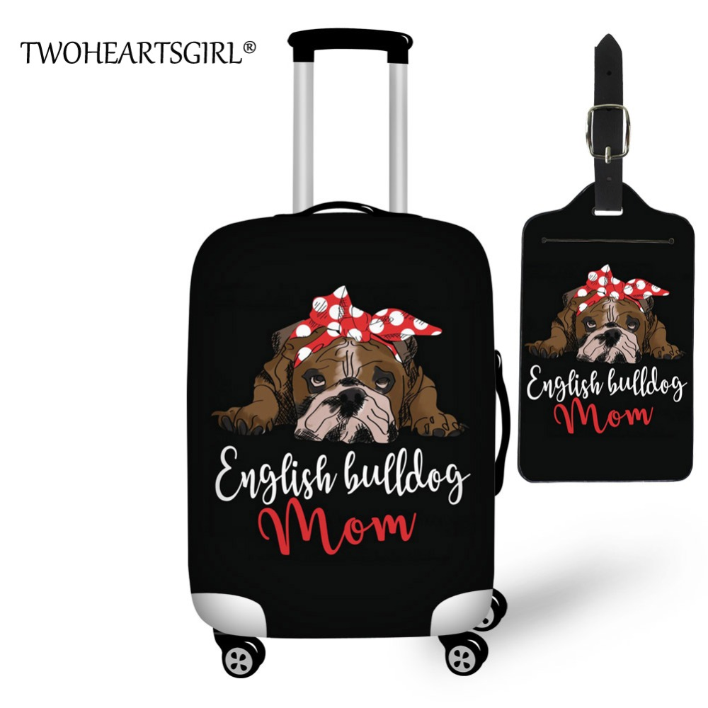 TWOHEARTSGIRL Travel Accessories Cartoon English Bulldog Luggage Covers For Trolley Suitcase Elastic Luggage Protective Covers