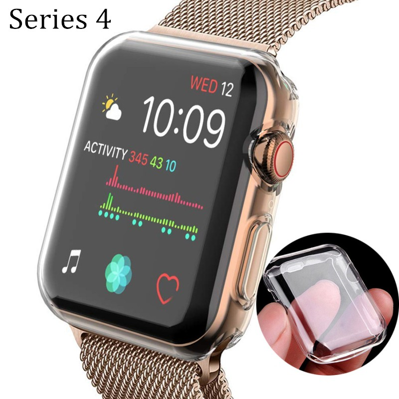 все цены на Ultra-thin Soft Slim Case Cover for Apple Watch TPU 40MM 44MM Series 4 All-around Protect Transparent Cover Watch Accessories