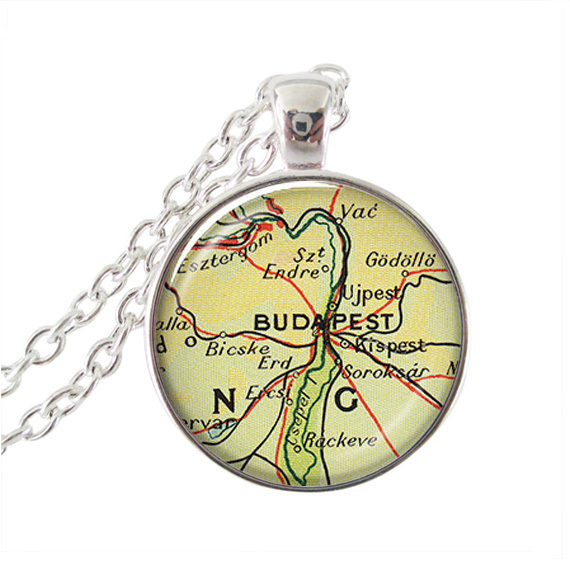 Vintage Budapest Map Pendant Long Map Necklace Map Jewelry Glass - Vintage budapest map