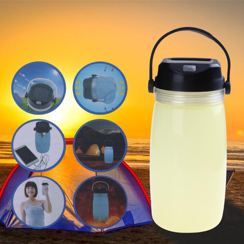 3 in 1 LED Outdoor Solar Powered Camping Light Lantern Luminous Hiking Sports Water Drinks Bottle Tent Lamp Phone Power Bank