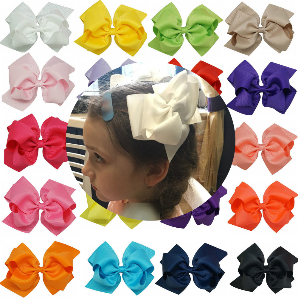 1pc 6 Inch Bowknot Double Layers Solid Grosgrain Ribbon Hairbow Children Girls Hair Bows Clips Hair Accessories Dancing Hairpins 2542 3 5 inch grosgrain ribbon hair bow diy children hair accessories baby hairbow girl hair bows without clip 16pcs lot