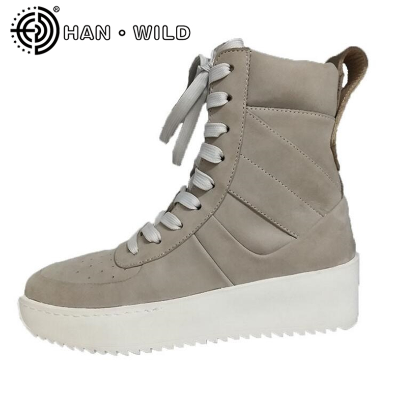 Genuine Leather Women Ankle Boots Justin Bieber Platform Boots Kanye West Street Military Shoes Fashion Ladies Handmade Boots justin bieber fear of god ankle boots 100% genuine leather kanye west boots men casual shoes fog platform botas knight boots