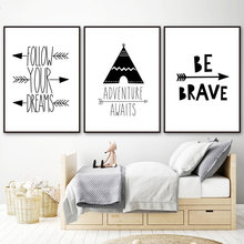 Home Decor Canvas Painting Nordic Cartoon Tent Arrow Quotes Black White Pictures Wall Art Prints Modular Poster For Living Room(China)