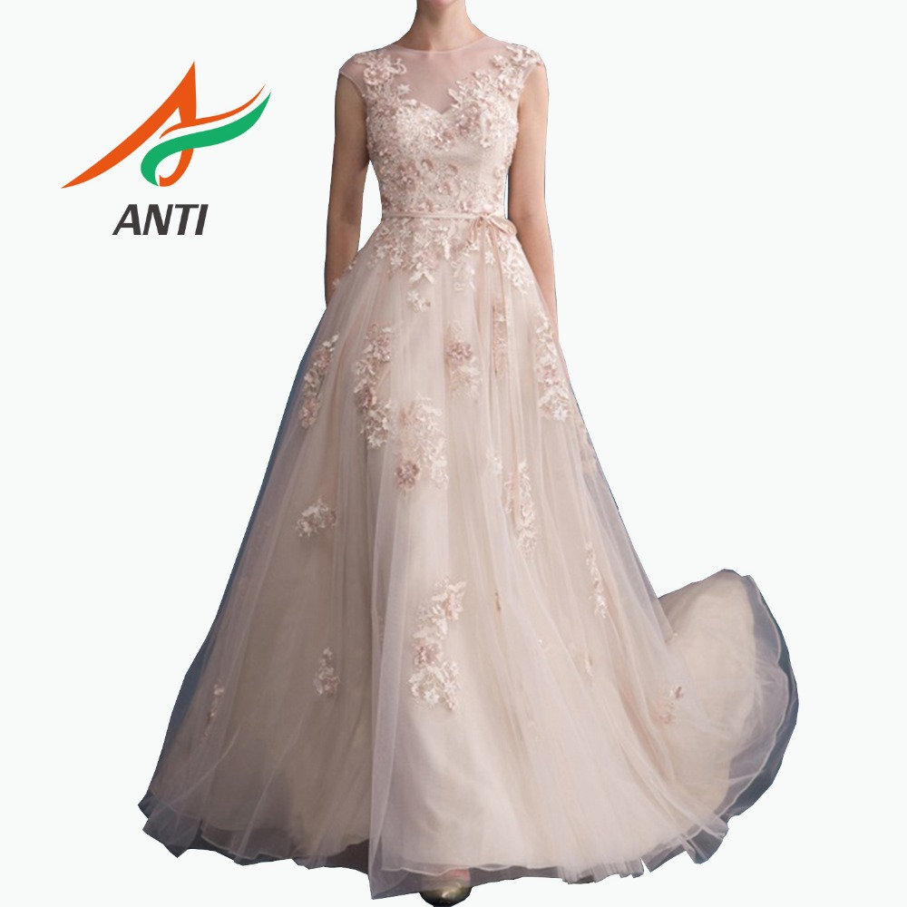 ANTI Elegant Champagne A-Line Princess   Evening     Dress   Long 2019 Tulle 3D Flower Pearls Sequined Formal Gown For Woman robe soiree