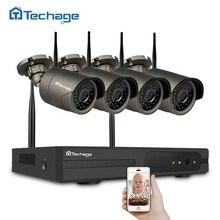 Techage 4CH Беспроводной NVR комплект Wi-Fi видеонаблюдения Системы 720 P 1.0MP ИК Крытый Открытый безопасности Камера P2P видеонаблюдения комплект 1 ТБ HDD