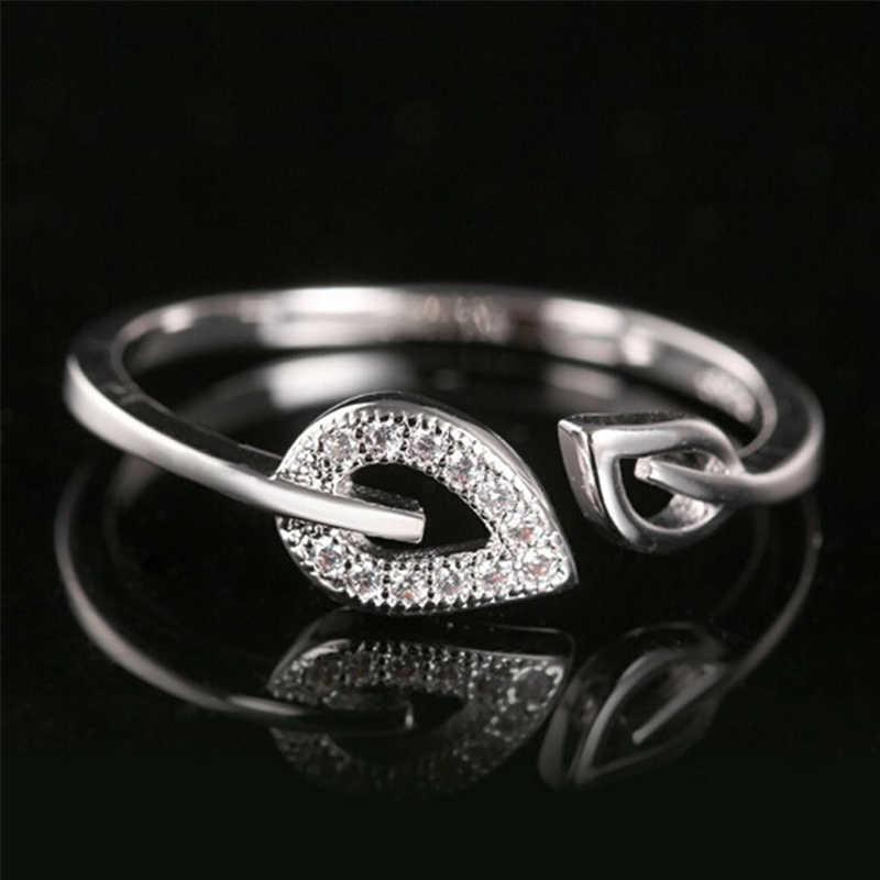 Полное прозрачное мерцающее Кристальное двойное полое Сердечко из серебра Золотые Простые Кольца для женщин