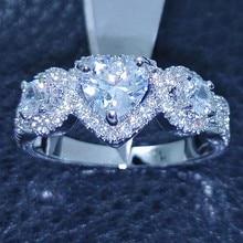 Victoria Wieck corazón tres piedras de 10KT Gold Filled topacio blanco simulado diamante del anillo joya Sz 5-11 regalo del envío gratis