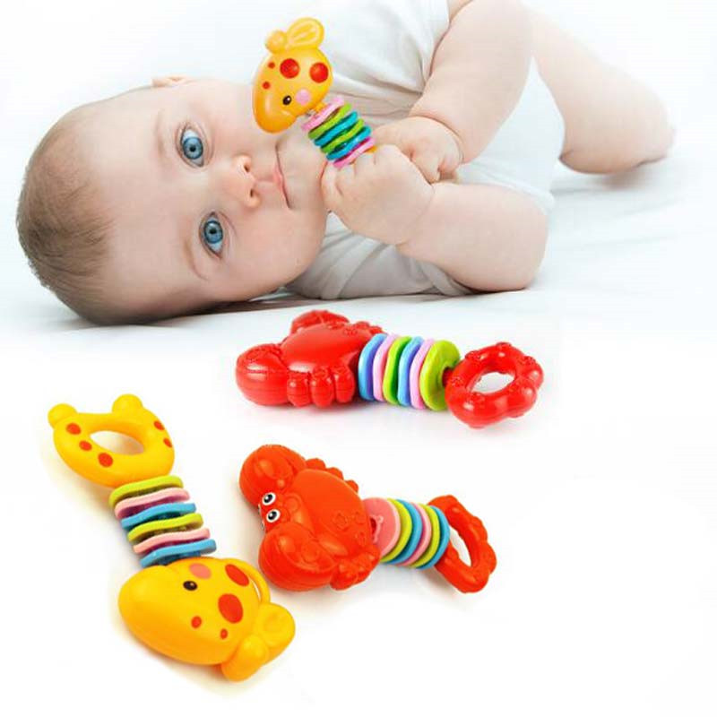 Baby Teether Rattles Newborn Plastic Baby Toy Hand Bell Teeth Toys For Newborns Gift For Children