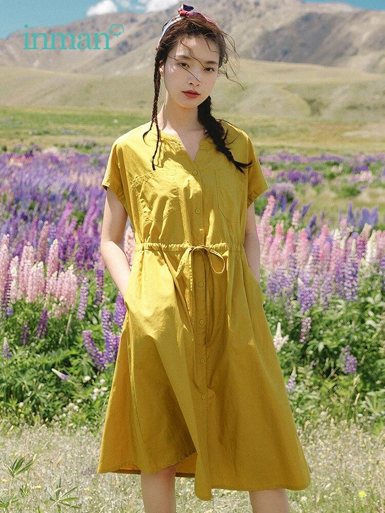 INMAN Summer Elegant O-neck Bat Sleeve Defined Waist Slim A-line Elegant Women Dress