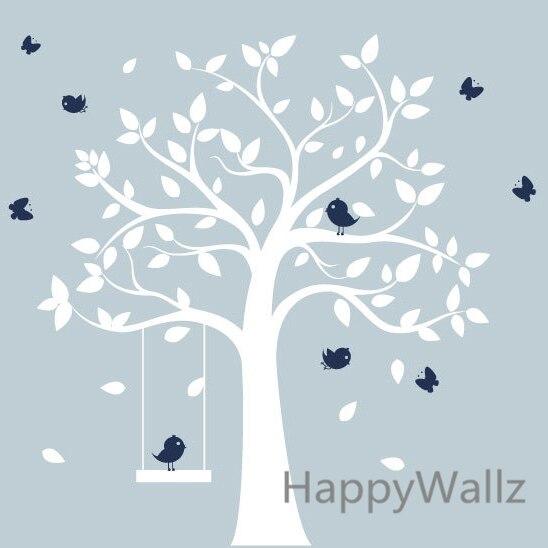 Árvore de adesivos de parede do berçário do bebê aves balanço da árvore decalques da parede dos miúdos quarto diy adesivo árvore com prateleira crianças decorações t38