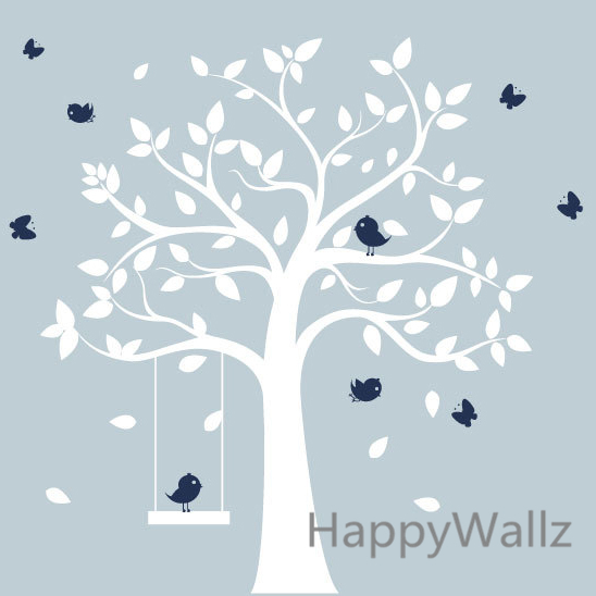 Детские Дерево стены Стикеры Товары для птиц дерево качели Наклейки на стены Детская комната DIY Дерево Стикеры с полкой детей декоры T38