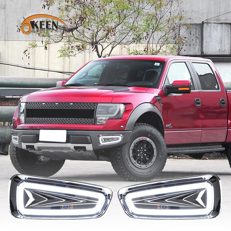 OKEEN 2pcs High Quality LED DRL for Ford Raptor F150 2010 2011 2012 2013 2014 Daytime Running Lights with Turn Signal Lamp 12V led auto car drl daytime running lights gloss style fog lamp with turn off and dimmer function case for 2012 ford focus 3