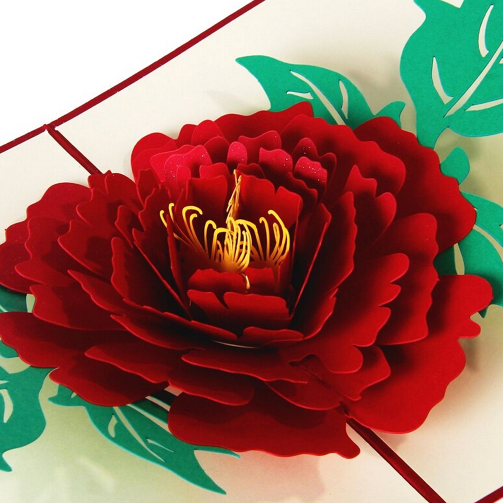 Simple Peony Greeting Card 3D Postcard Birthday New Year Christmas Folding Kirigami Card For Wedding Valentine's Day